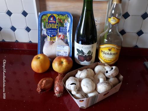 Zutaten Calvados-Hähnchen