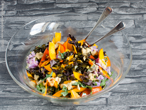 Pumpkin salad with kale