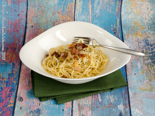 Spaghetti with Swede and Bacon