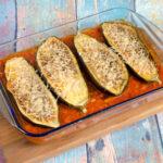 Aubergine, gebacken mit weißen Bohnen
