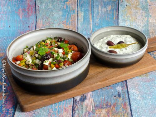 Griechischer Bauernsalat und Zaziki