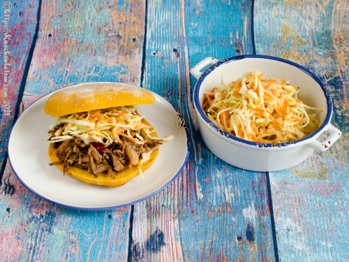 Bolo do Caco - Bread Rolls from Madeira with pulled pork and cole slaw
